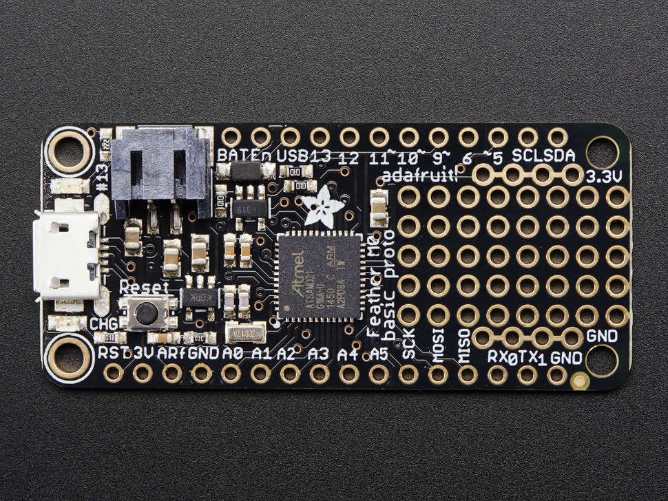 Adafruit Feather M0 Basic Proto – ATSAMD21 Cortex M0